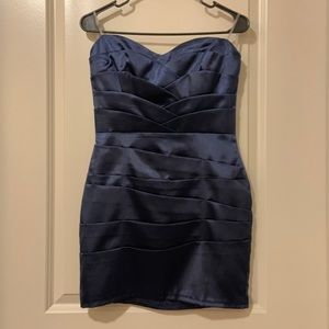 Satiny navy mini dress L